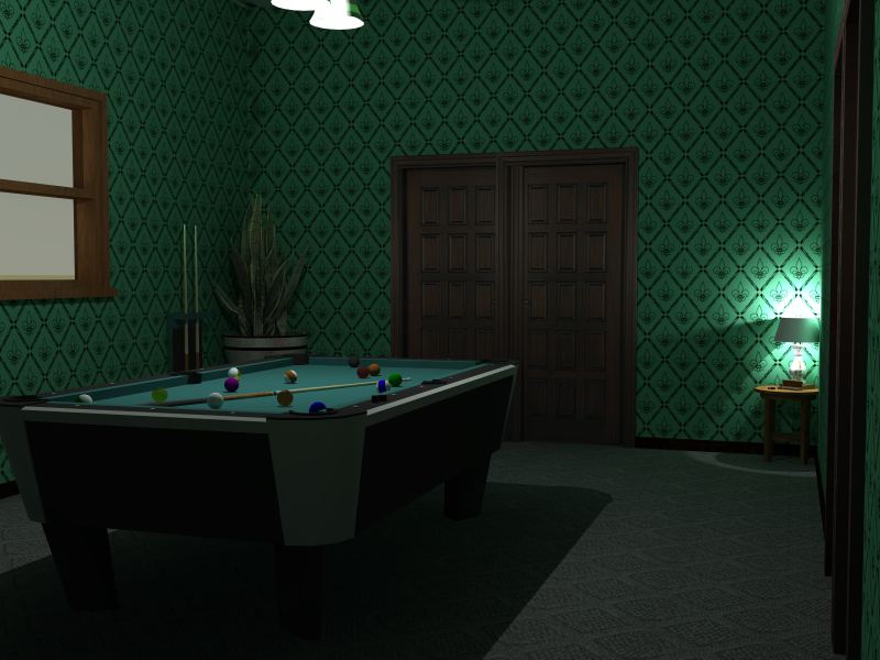 Billiards room built in Sketchup and rendered with Podium Studio.