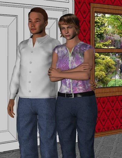Two characters illustrating the use of purchased clothing models.